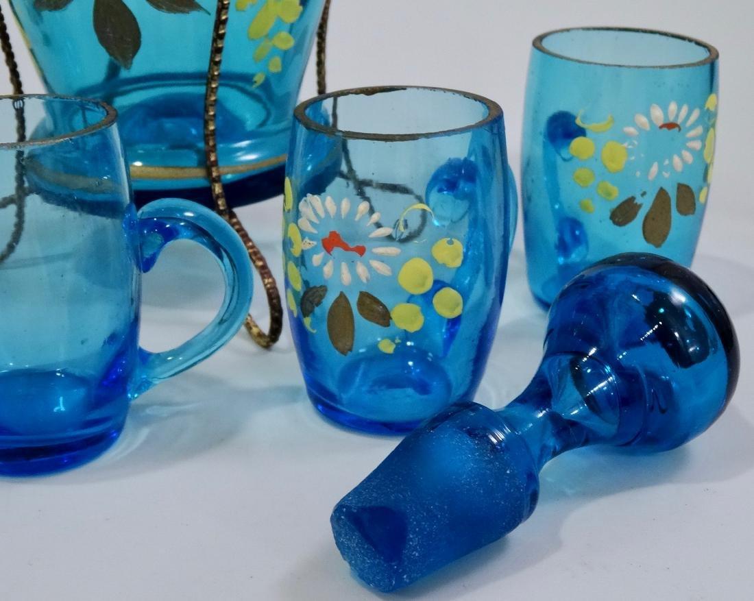Bohemian Blue Glass Enameled Decanter Antique Set - 7