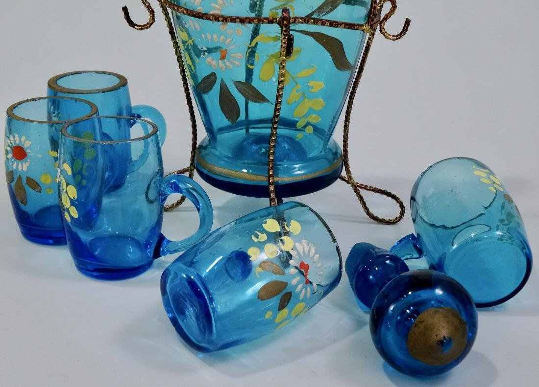 Bohemian Blue Glass Enameled Decanter Antique Set - 8