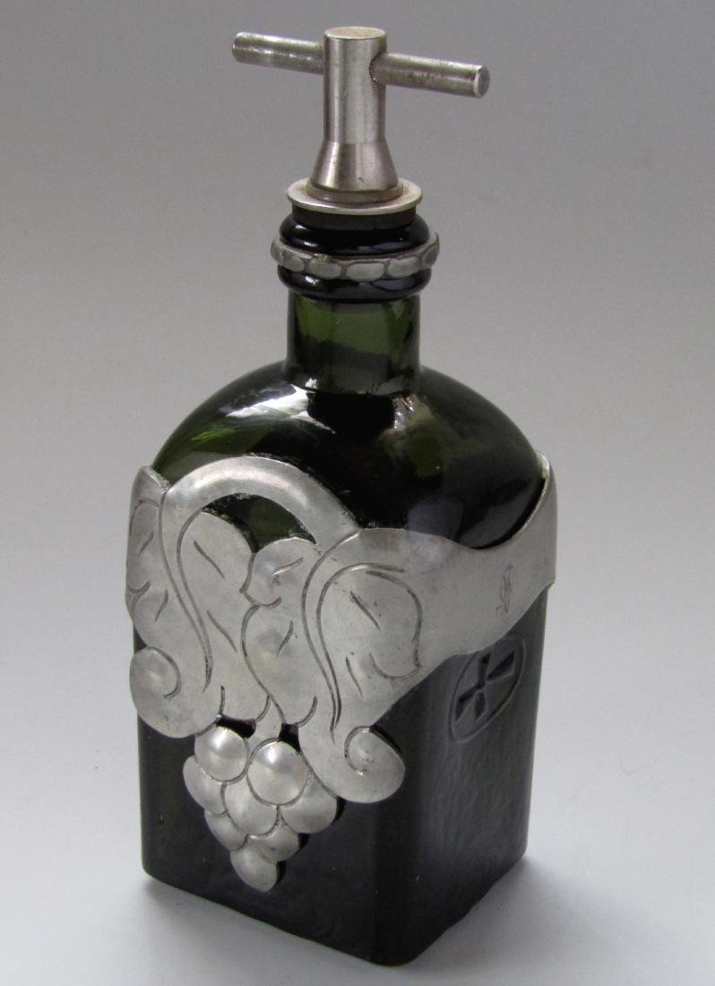 Green Glass Bottle Unique Pewter Overlay Decanter