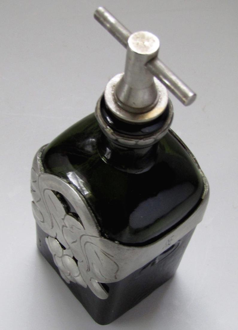 Green Glass Bottle Unique Pewter Overlay Decanter - 3