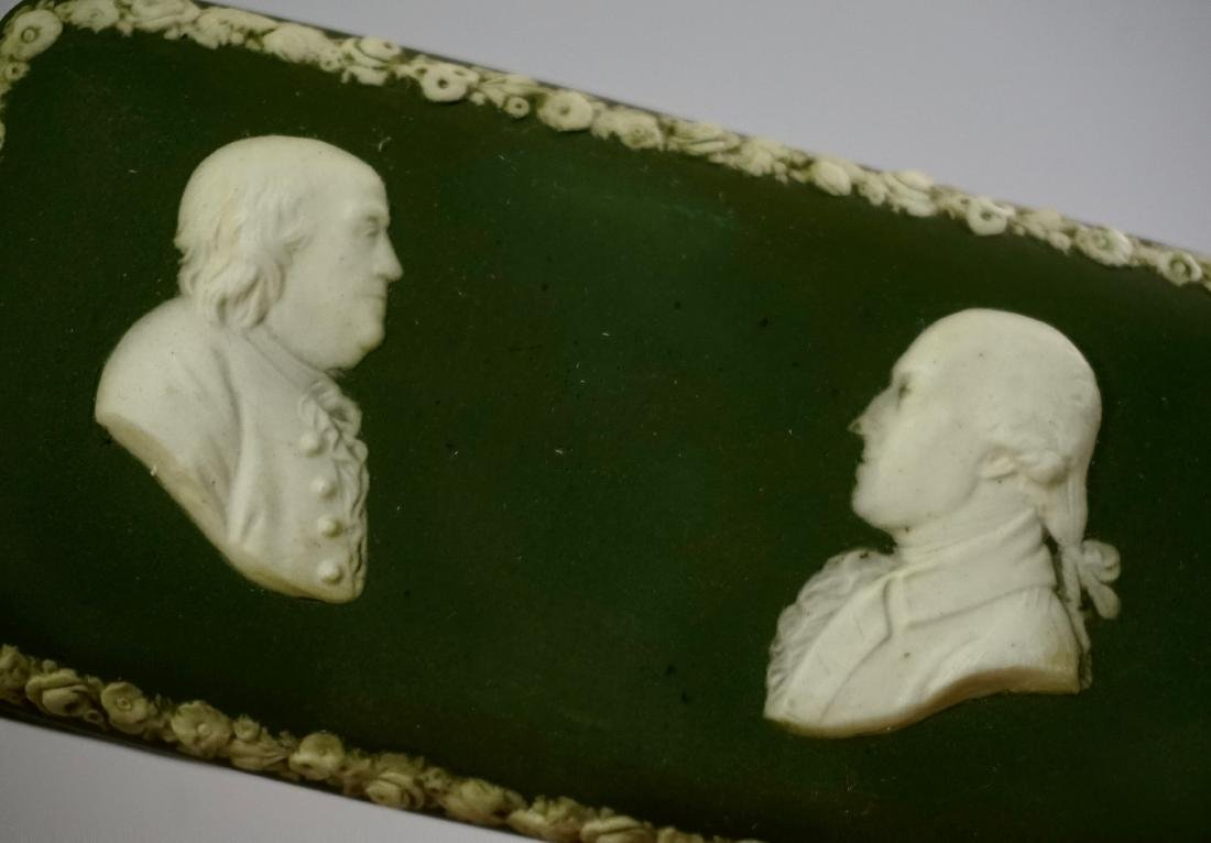 Antique Wedgwood Olive Green Dip Jasperware President - 5
