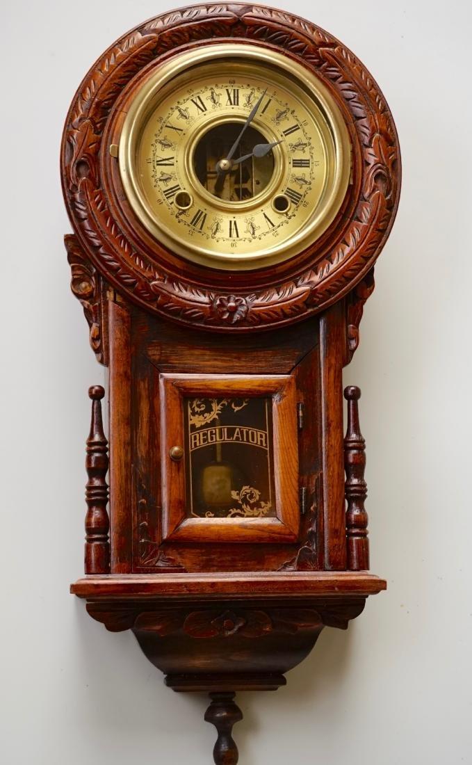 Carved Case Regulator Wall Clock Brass Pendulum