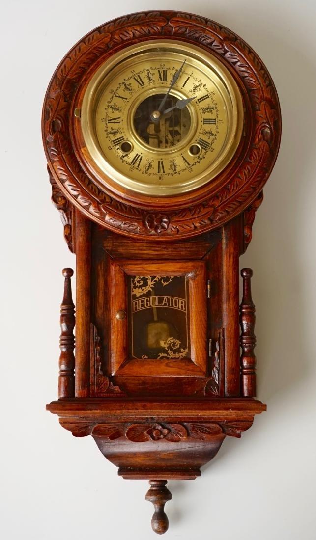 Carved Case Regulator Wall Clock Brass Pendulum - 2
