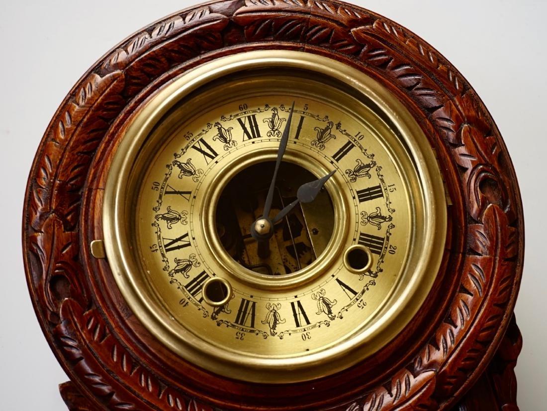 Carved Case Regulator Wall Clock Brass Pendulum - 3