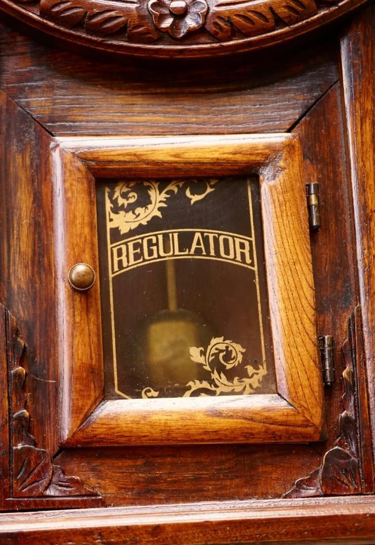 Carved Case Regulator Wall Clock Brass Pendulum - 4
