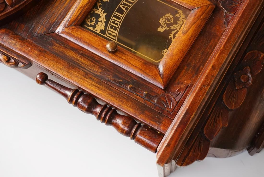 Carved Case Regulator Wall Clock Brass Pendulum - 5
