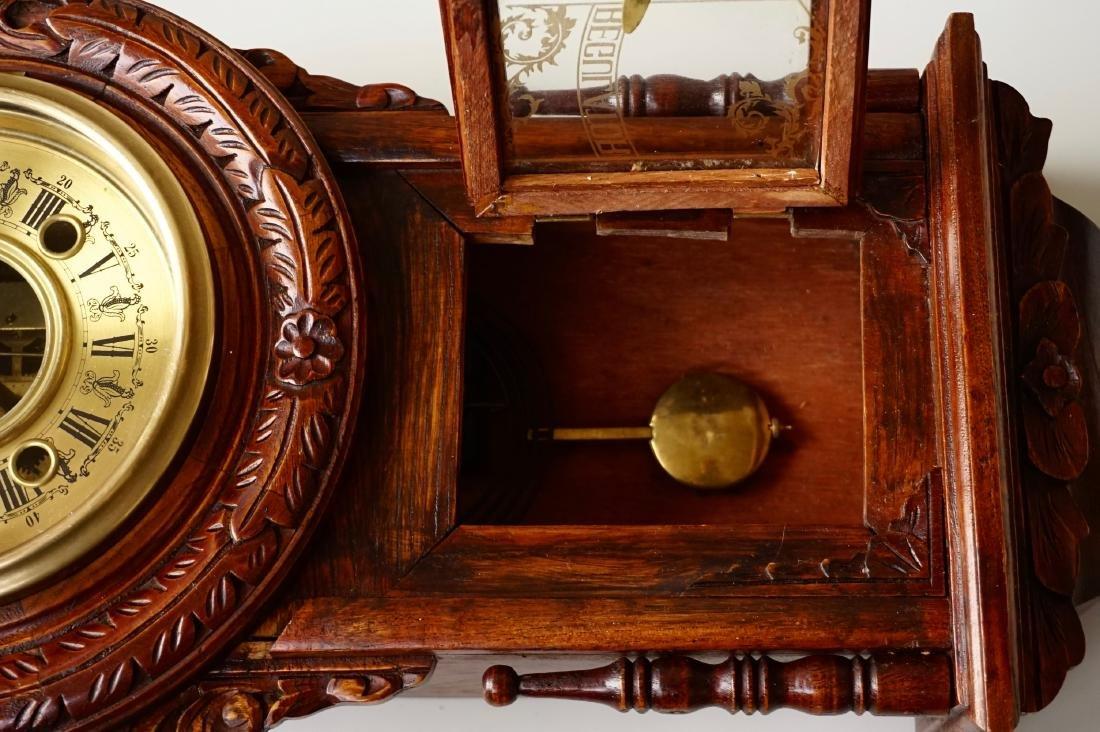 Carved Case Regulator Wall Clock Brass Pendulum - 6