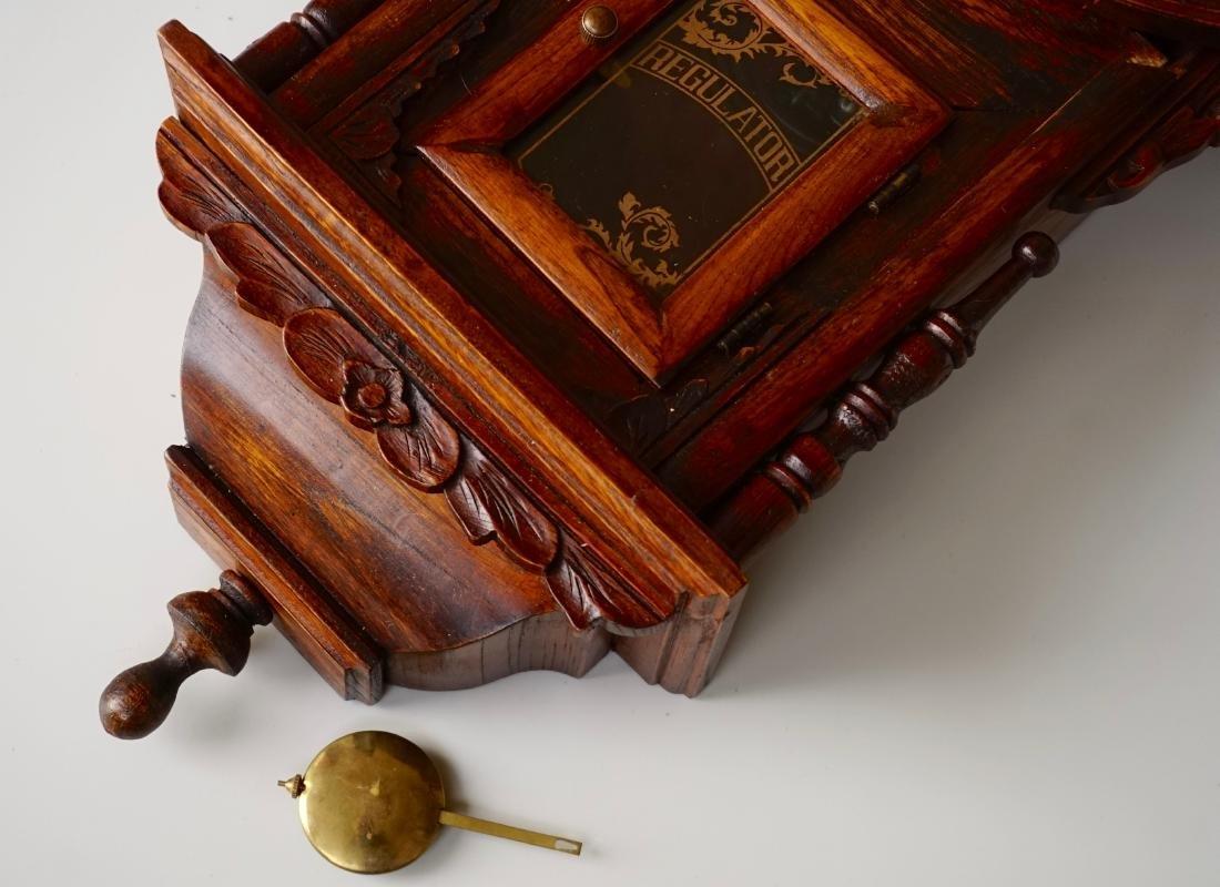 Carved Case Regulator Wall Clock Brass Pendulum - 7