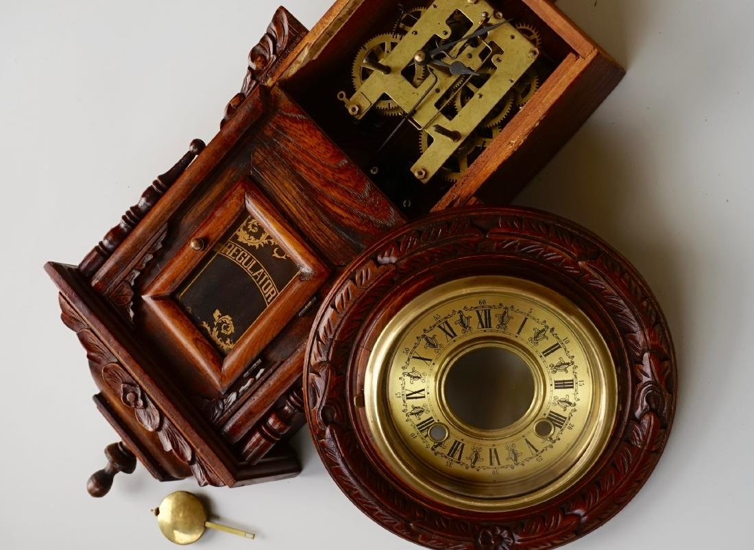 Carved Case Regulator Wall Clock Brass Pendulum - 8