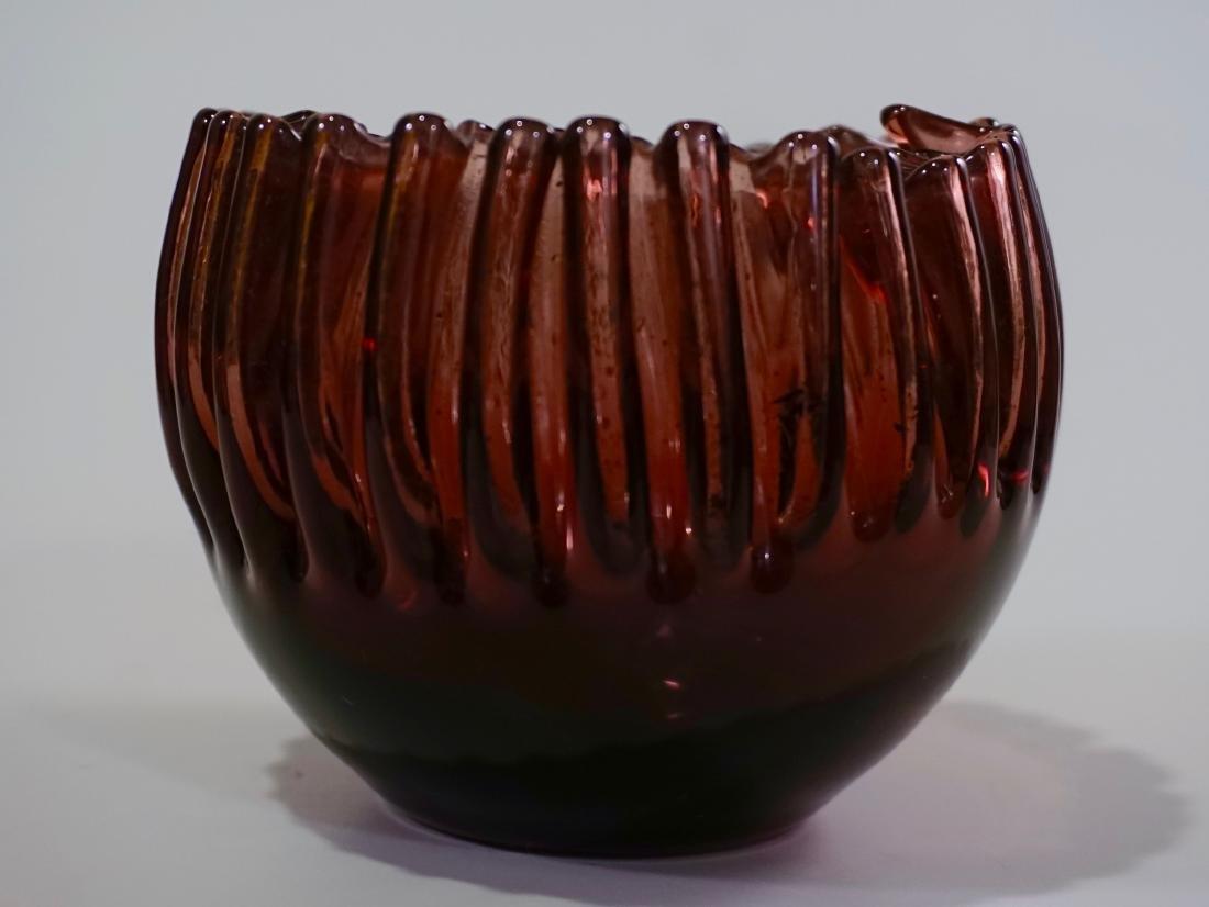 Vintage Crimped Rim Amethyst Art Glass Bowl Vase