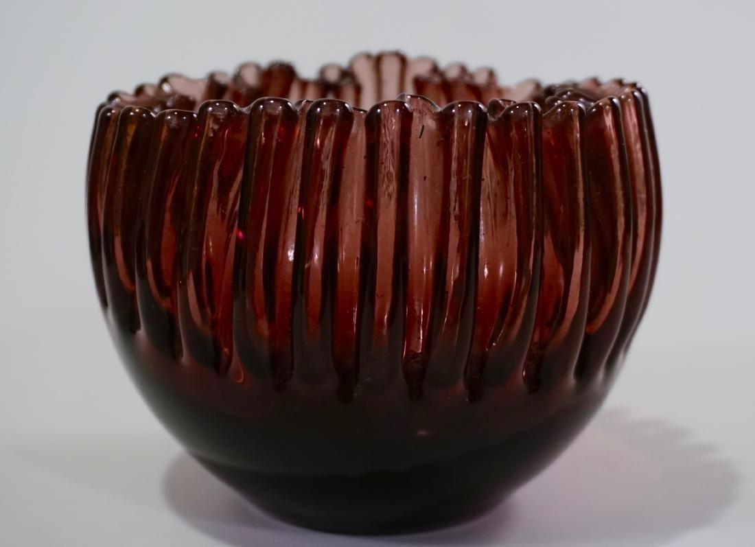Vintage Crimped Rim Amethyst Art Glass Bowl Vase - 2