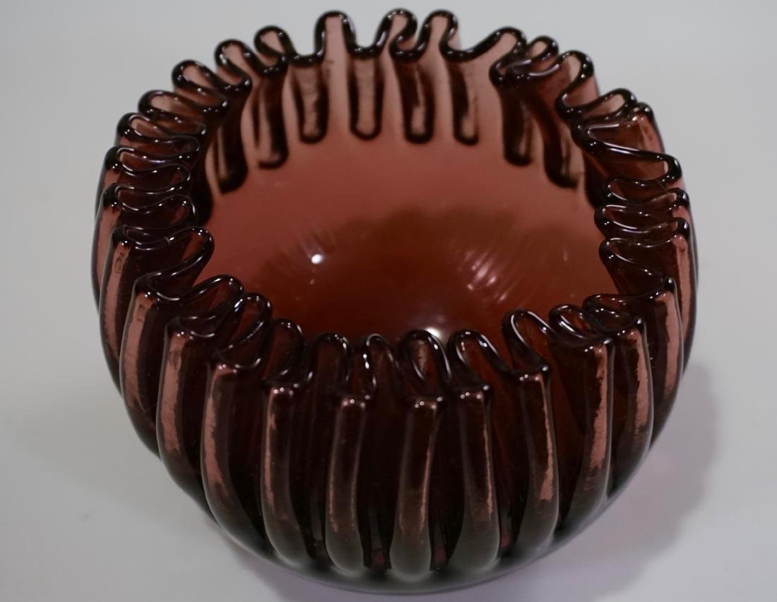 Vintage Crimped Rim Amethyst Art Glass Bowl Vase - 5