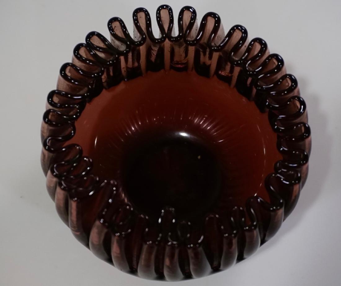 Vintage Crimped Rim Amethyst Art Glass Bowl Vase - 6