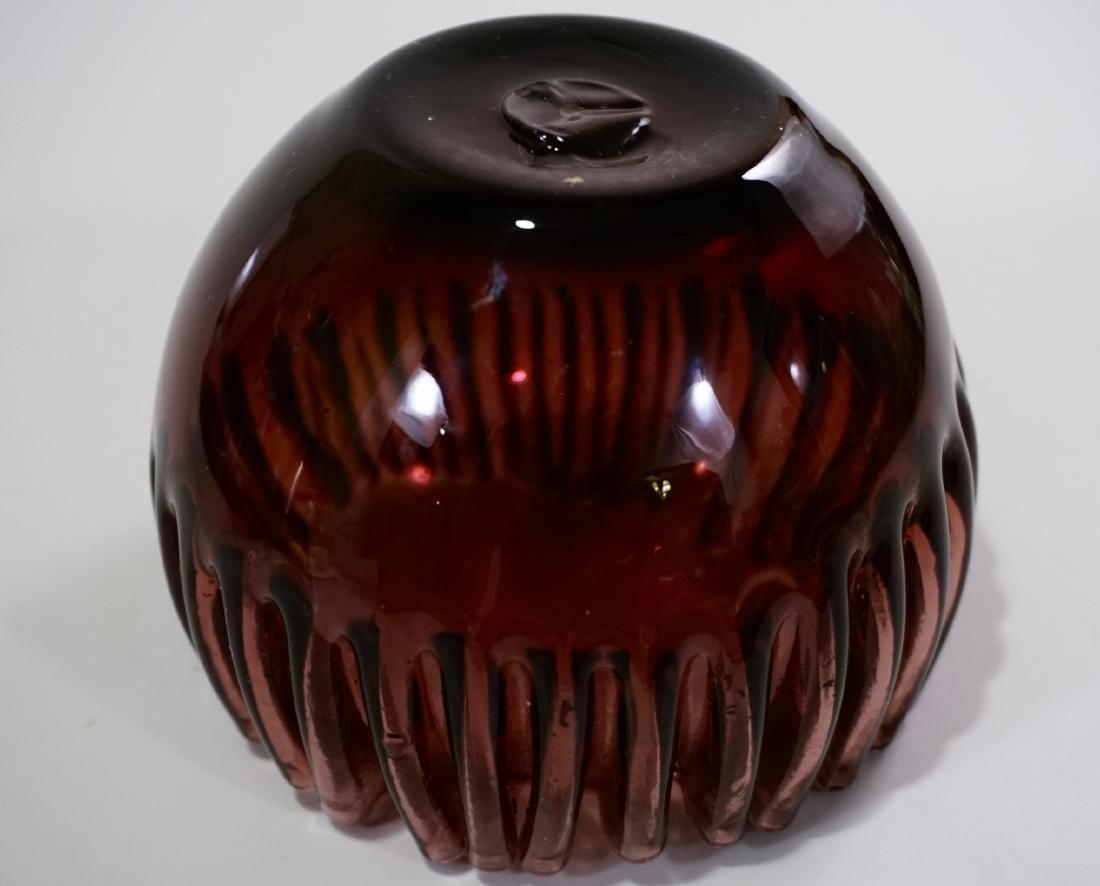 Vintage Crimped Rim Amethyst Art Glass Bowl Vase - 7