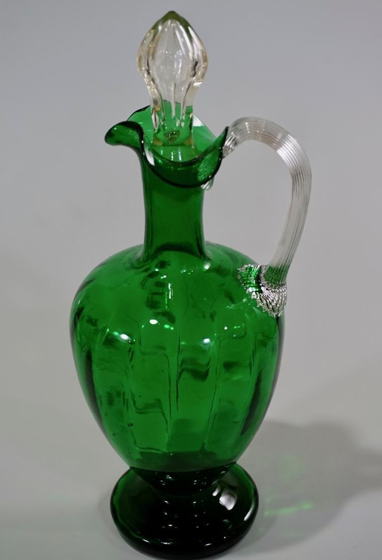 Victorian Green Art Glass Cruet Decanter Lily of the - 5