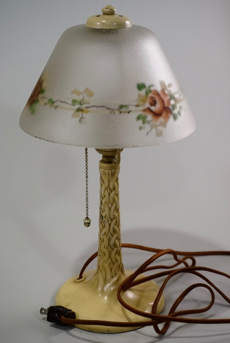 Reverse Painted Shade Art Deco Table Lamp