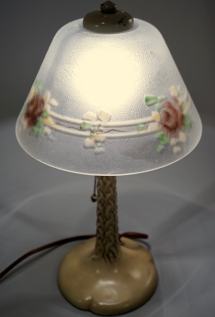 Reverse Painted Shade Art Deco Table Lamp - 6