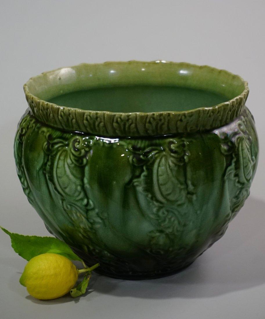 Victorian Garden Majolica Pottery Green Glaze Planter
