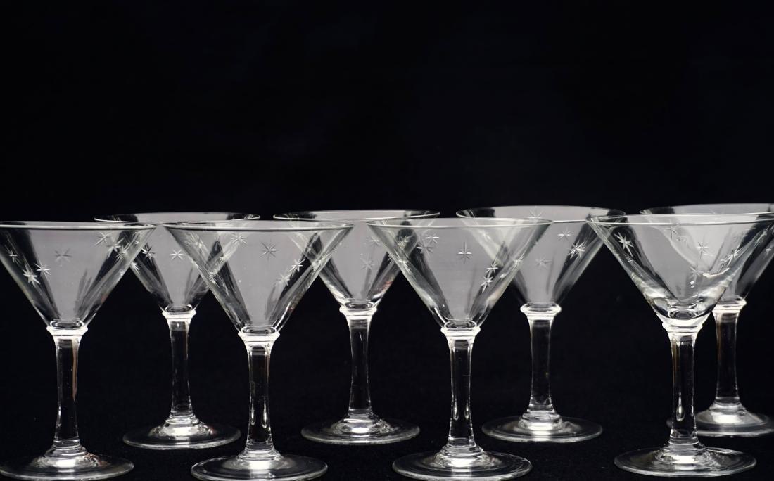 Art Deco Starburst Cut Glass Cocktail Glasses Vintage - 3