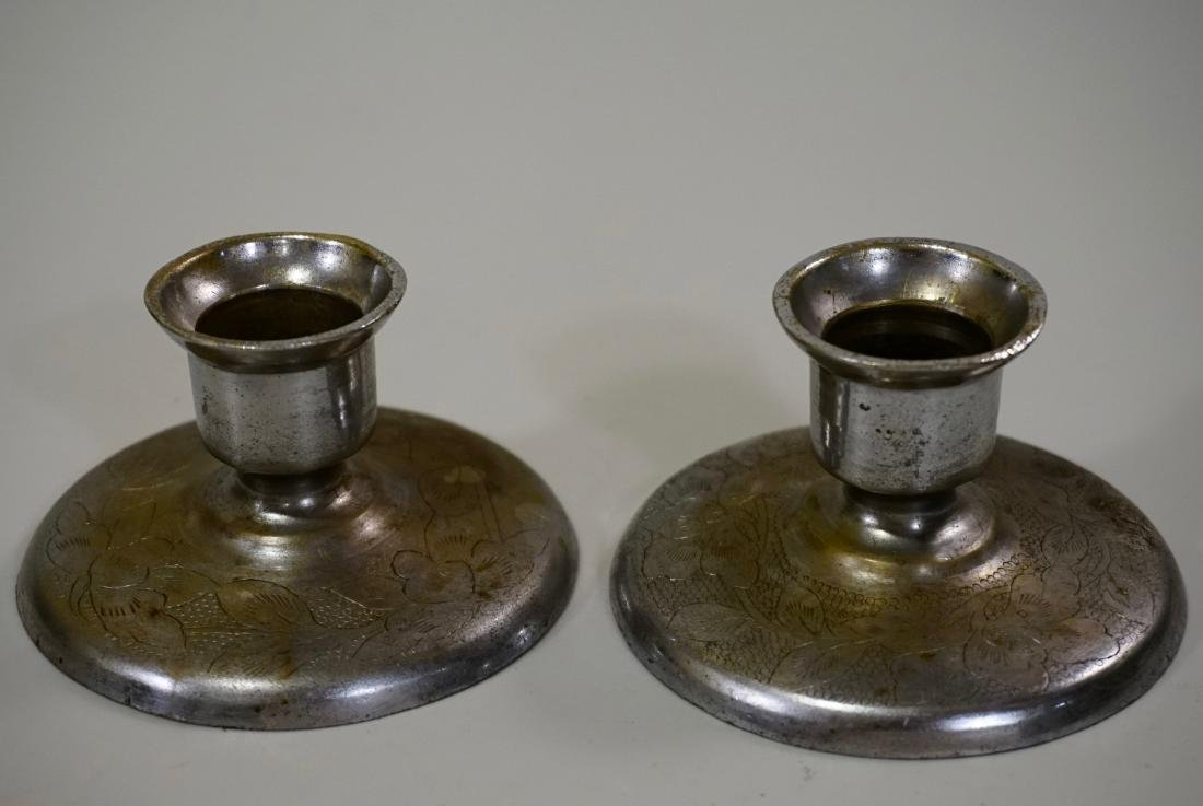 Paktong Brass Chinese Candle Holders Signed Pair