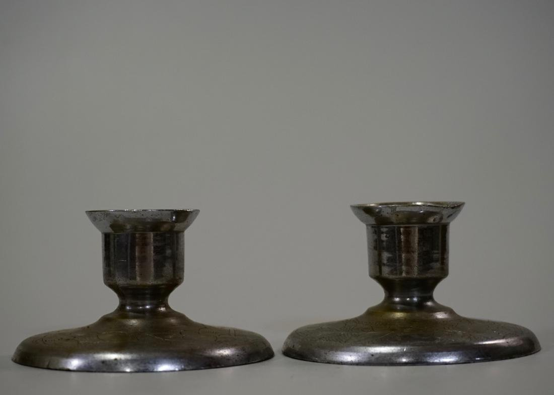 Paktong Brass Chinese Candle Holders Signed Pair - 2