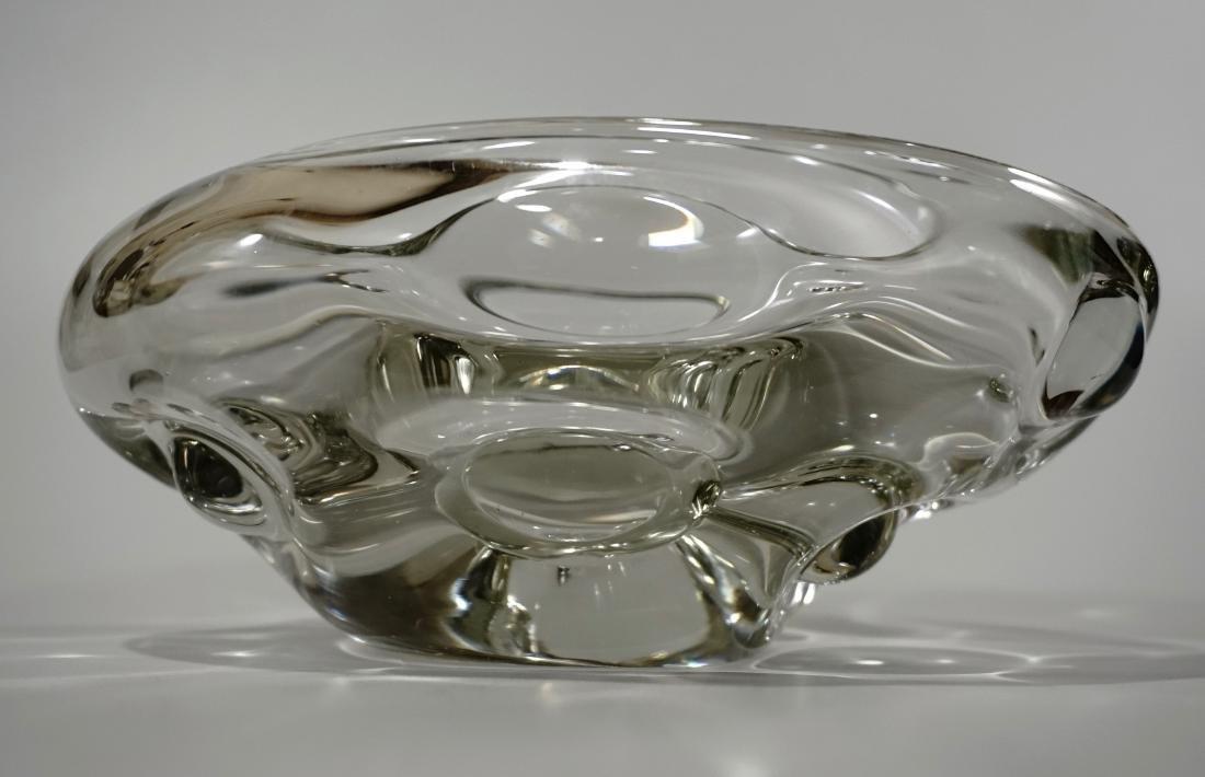 Modern Italian Murano Clear Art Glass Vase Bowl Mid