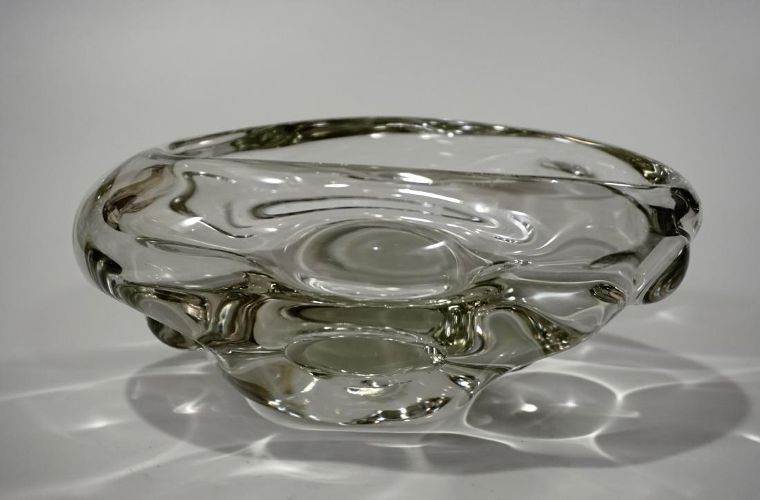 Modern Italian Murano Clear Art Glass Vase Bowl Mid - 2
