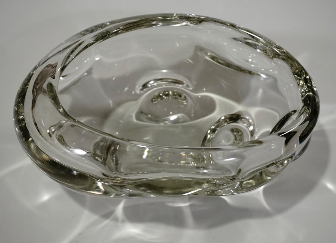 Modern Italian Murano Clear Art Glass Vase Bowl Mid - 5