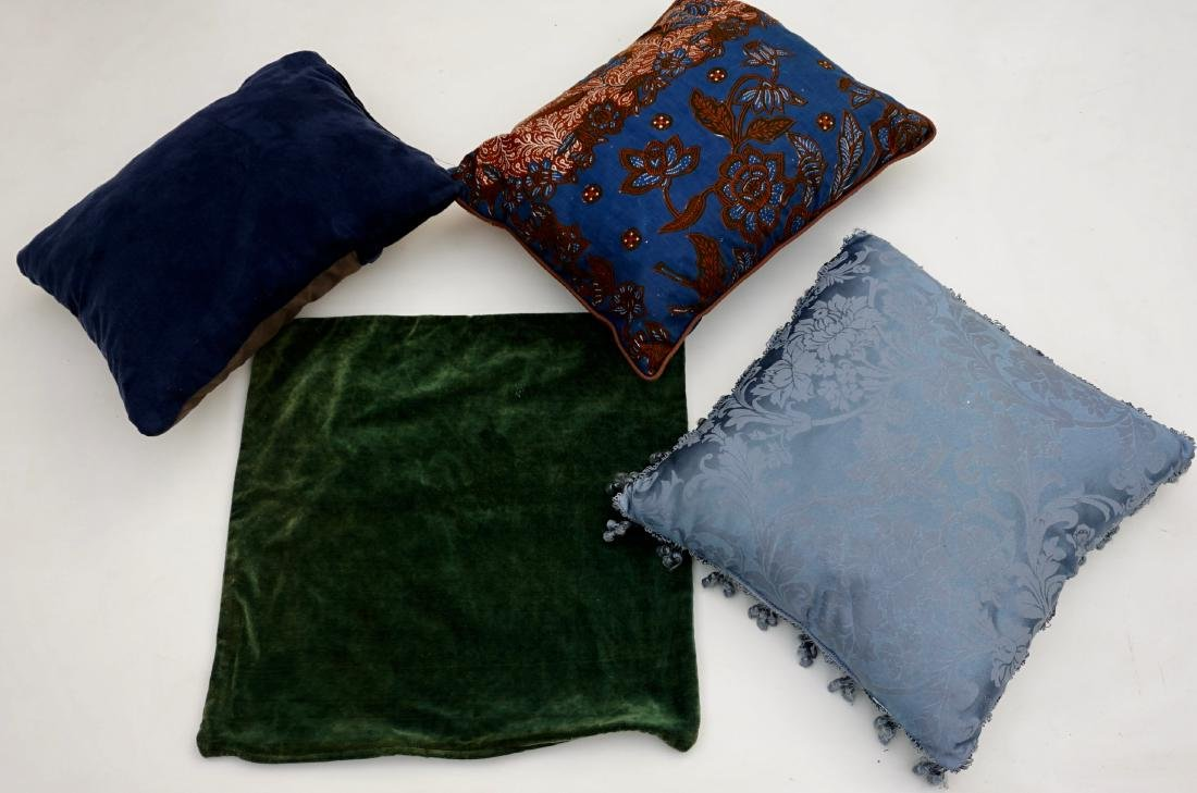 Blue Designer Pillows and Green Pillow Case Lot of 4