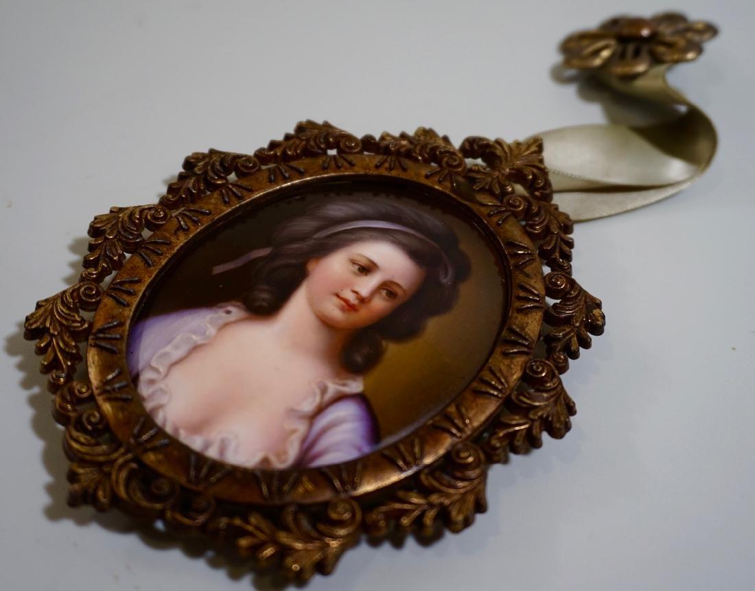 Painted Porcelain Miniature Beauty Portrait Plaque - 2