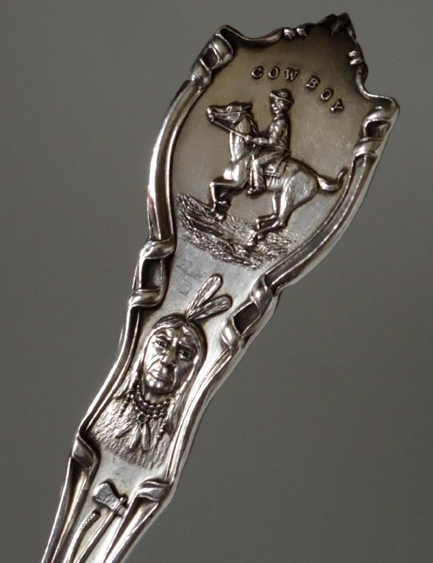 Sterling Silver Souvenir Spoon Colorado Cowboy Indians - 4