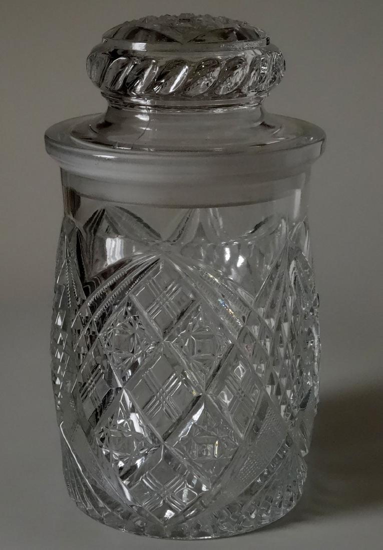 EAPG Pressed Glass Humidor Jar Tobacco Cigar Storage