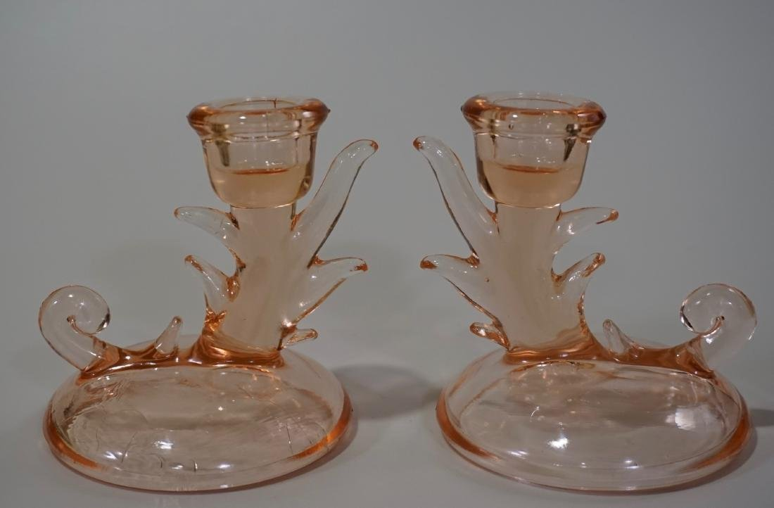 Pair Pink Depression Glass Candleholders