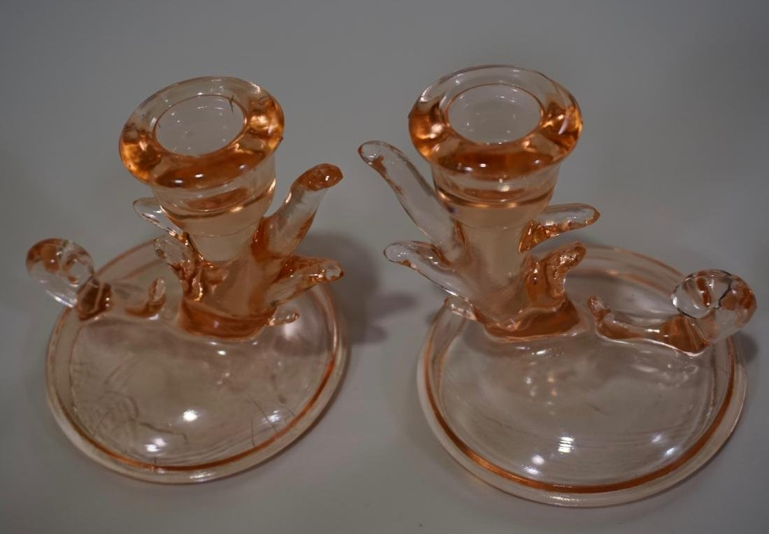 Pair Pink Depression Glass Candleholders - 2