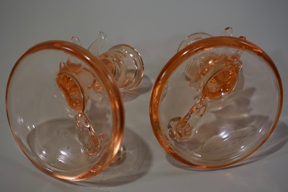 Pair Pink Depression Glass Candleholders - 6