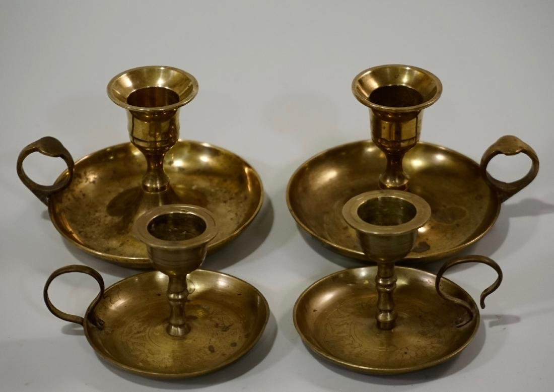 Lot of 4 Brass Chambersticks Candle Holders