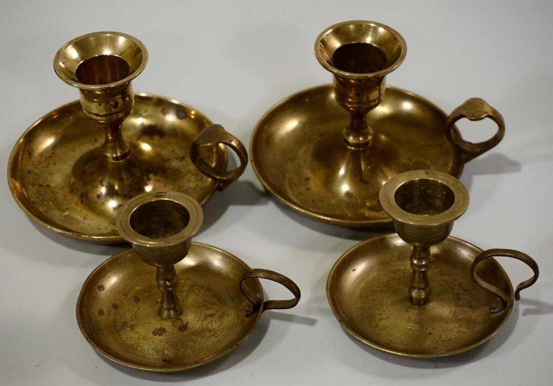 Lot of 4 Brass Chambersticks Candle Holders - 2