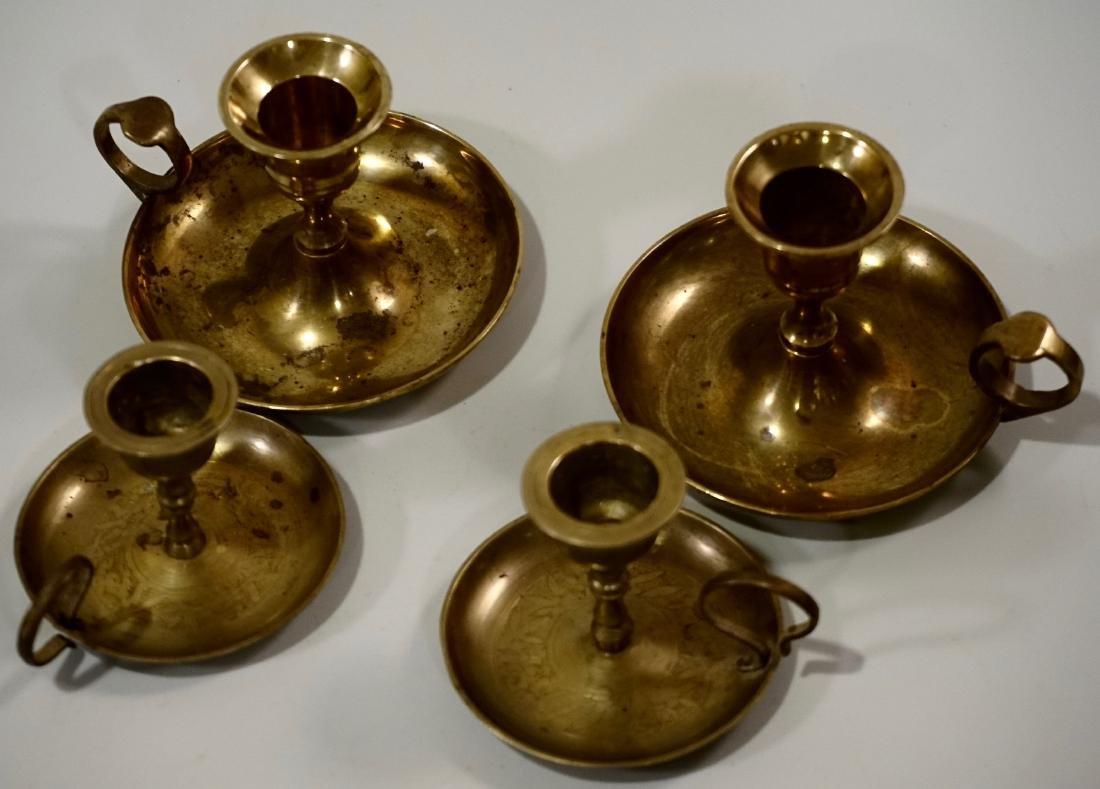 Lot of 4 Brass Chambersticks Candle Holders - 4