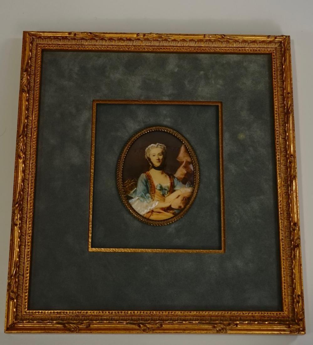 Antique Miniature Beauty Portrait Painting Illegible