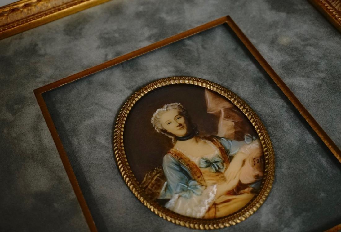 Antique Miniature Beauty Portrait Painting Illegible - 2