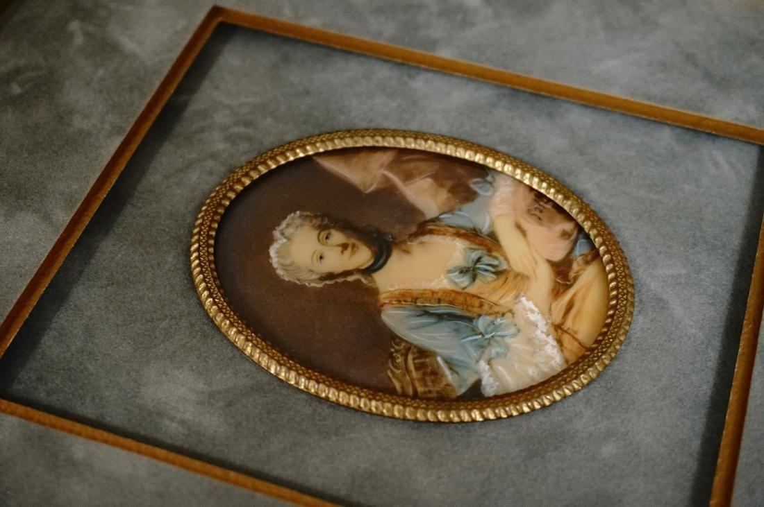Antique Miniature Beauty Portrait Painting Illegible - 3