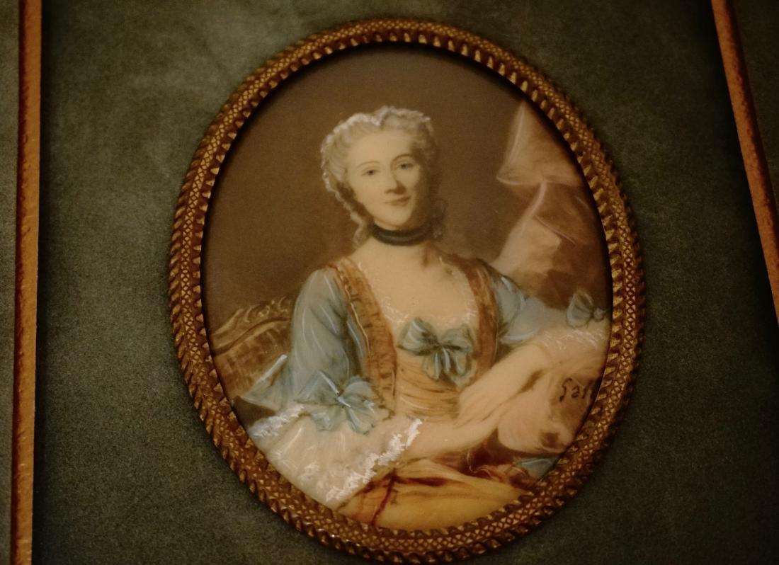 Antique Miniature Beauty Portrait Painting Illegible - 4