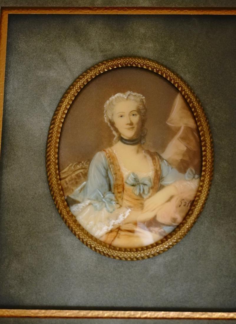 Antique Miniature Beauty Portrait Painting Illegible - 5
