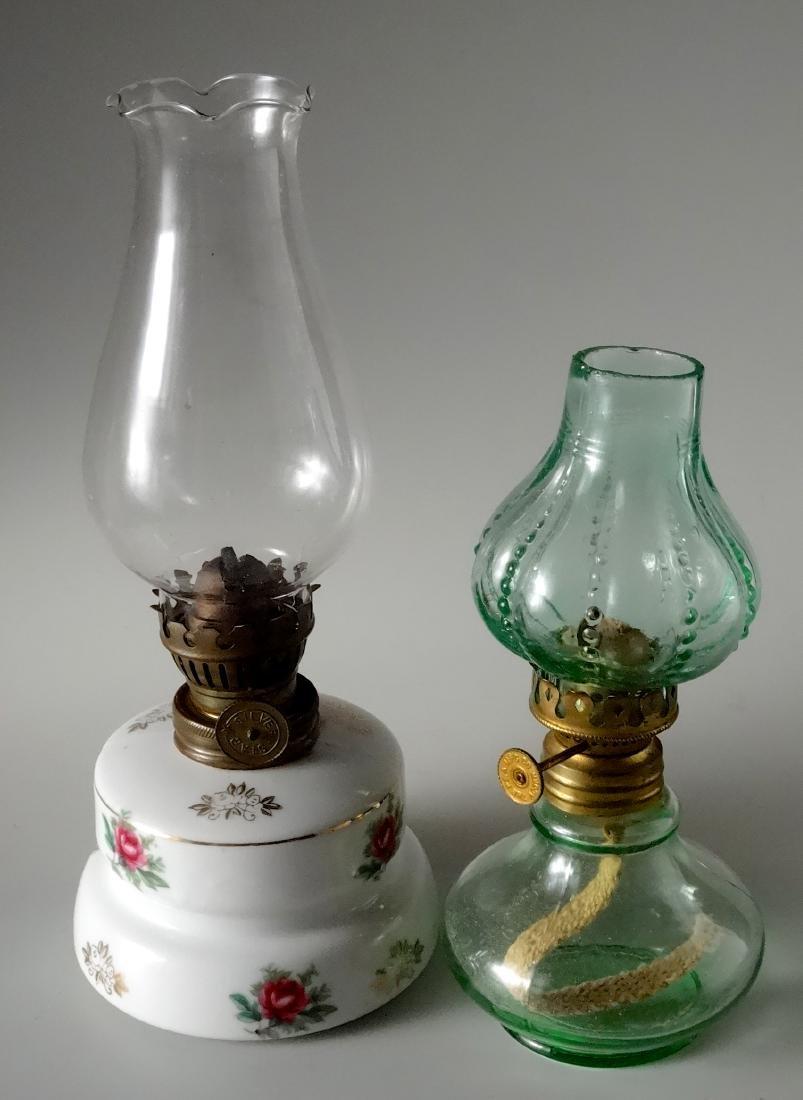 Lot of 2 Miniature Vintage Kerosene Oil Lamps