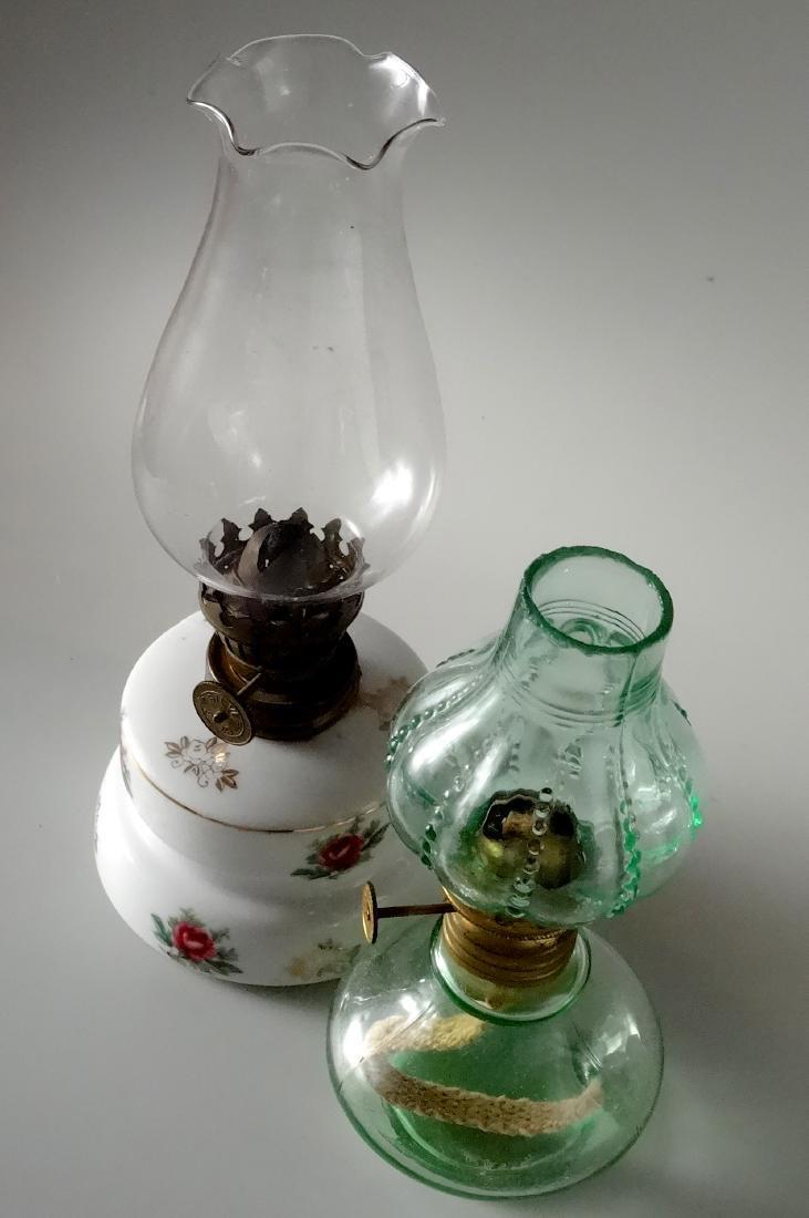 Lot of 2 Miniature Vintage Kerosene Oil Lamps - 2