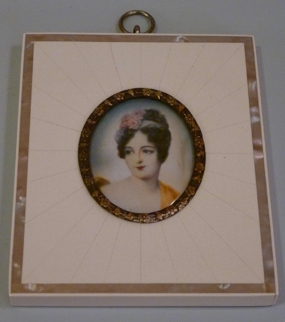 Antique Miniature Portrait Painting Mademoiselle Moers
