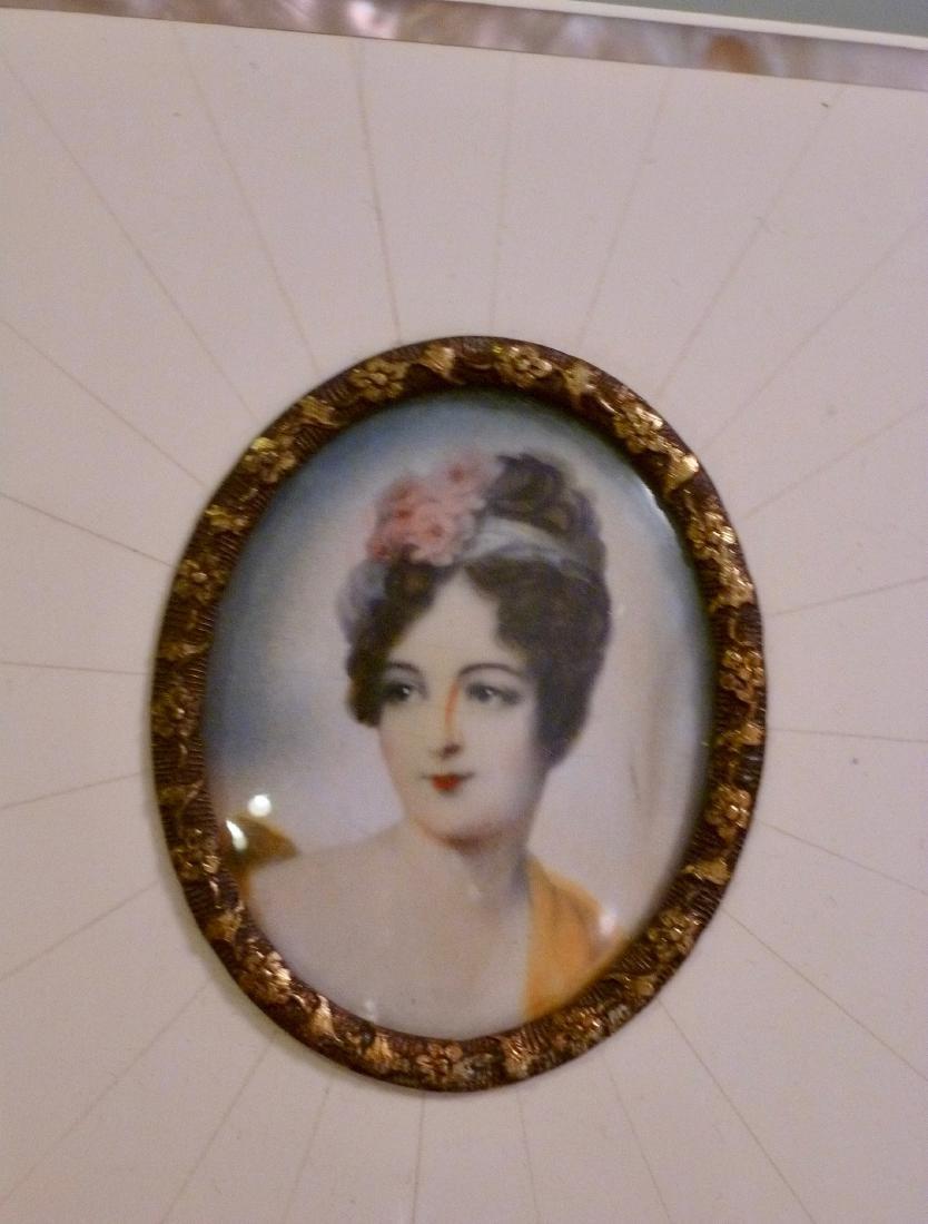 Antique Miniature Portrait Painting Mademoiselle Moers - 2