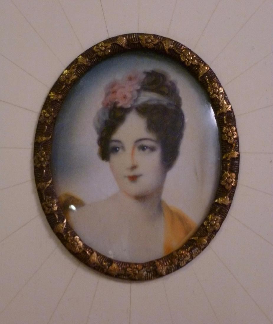 Antique Miniature Portrait Painting Mademoiselle Moers - 3