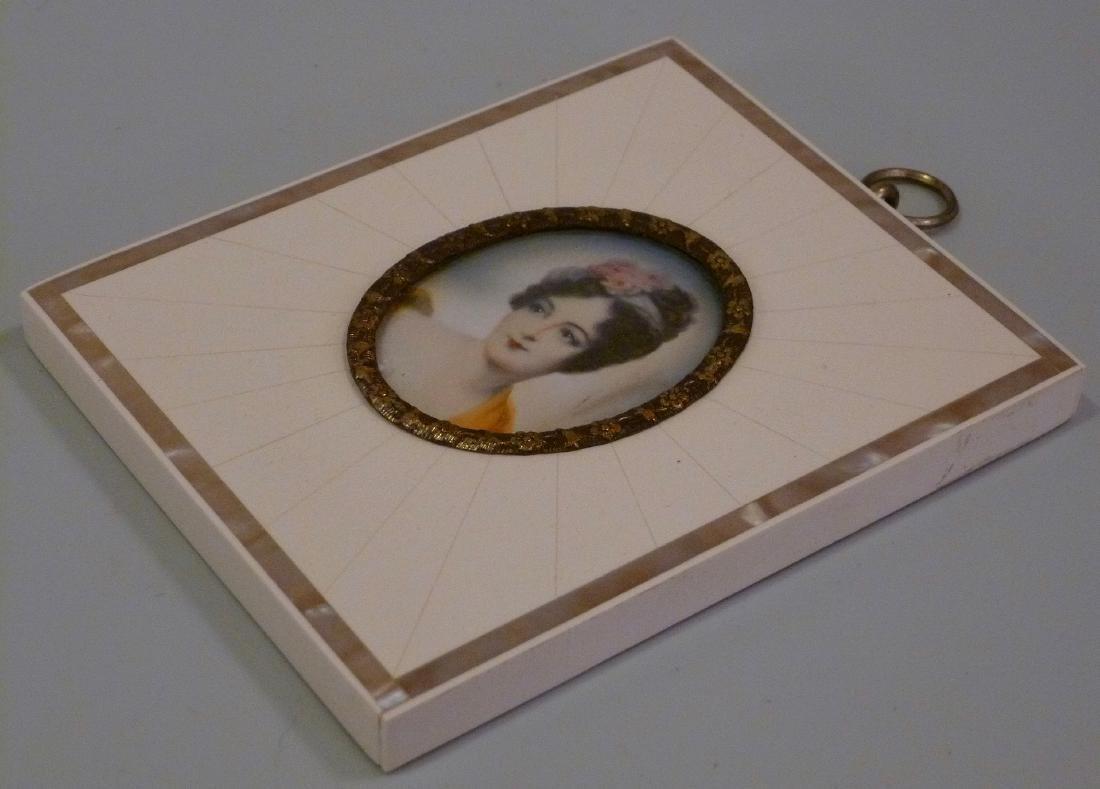 Antique Miniature Portrait Painting Mademoiselle Moers - 4