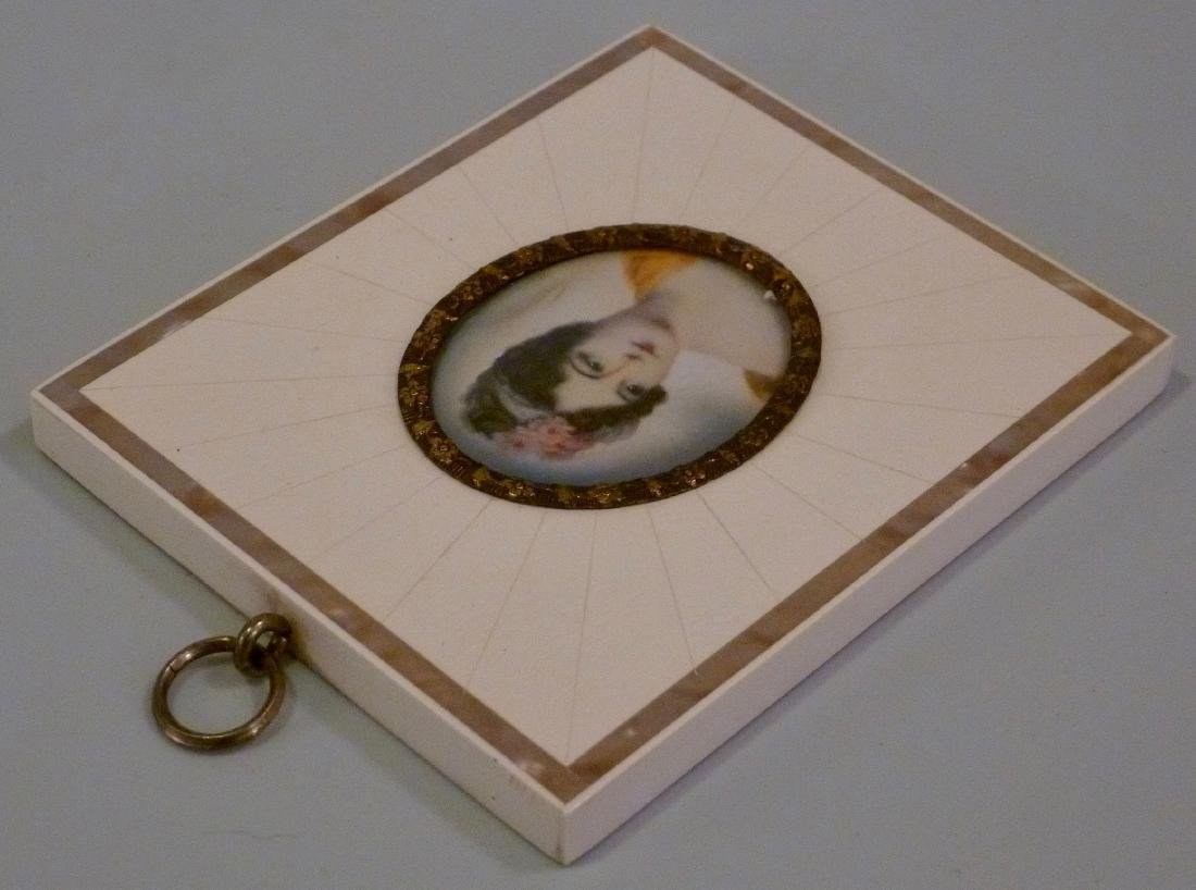 Antique Miniature Portrait Painting Mademoiselle Moers - 5